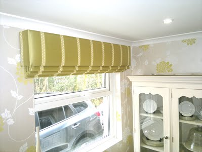 kitchen roman blind with padded pelmet